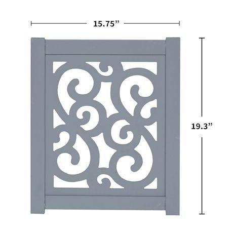 "Home District Freestanding Pet Gate Real Wood 3-Panel Tri Fold Folding Dog Fence - Grey Scroll Design, 47"" x 19"""