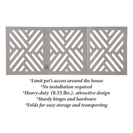 "Home District Freestanding Pet Gate Real Wood 3-Panel Tri Fold Folding Dog Fence - White Lattice Design, 47"" x 19"""
