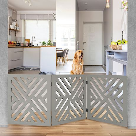 "Home District Freestanding Pet Gate Real Wood 3-Panel Tri Fold Folding Dog Fence - White Lattice Design, 53"" x 24"""