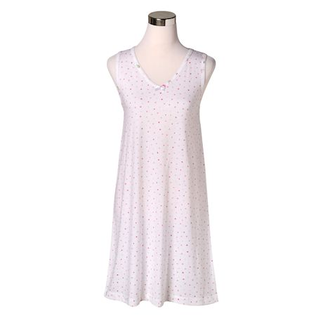 Metropolitan Womens Floral Sleep Set - Rose Bouquet Dot Knit Nightgown with Robe