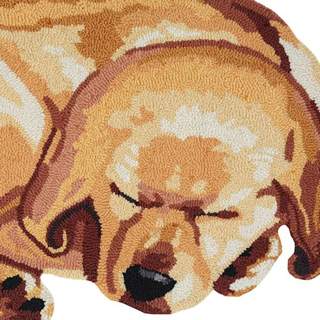 """Sleeping Yellow Lab Accent Rug - Cute Hand-Hooked Puppy Dog, 37"""" x 21"""""""