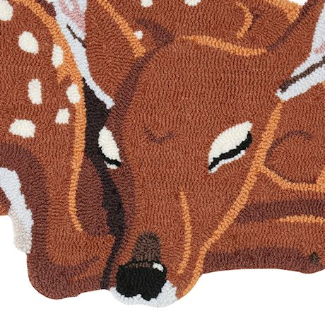 """WHAT ON EARTH Sleeping Deer Area Rug - Cute Hand-Hooked Animal Shaped Accent Carpet, 35"""" x 18"""""""