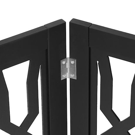 "ETNA Freestanding Wood Pet Gate - Twist Design 3-Panel Tri Fold Dog Fence for Doorways, Stairs - Indoor/Outdoor Pet Barrier - Black 48""W x 19"" Tall"