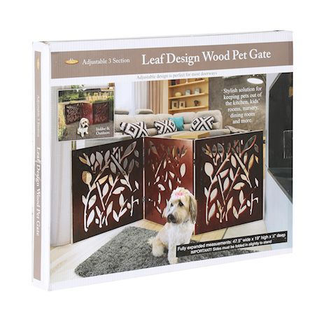 """ETNA Freestanding Wood Pet Gate - Leaf Design 3-Panel Tri Fold Dog Fence for Doorways, Stairs - Indoor/Outdoor Pet Barrier - Brown 48""""W x 19"""" Tall"""