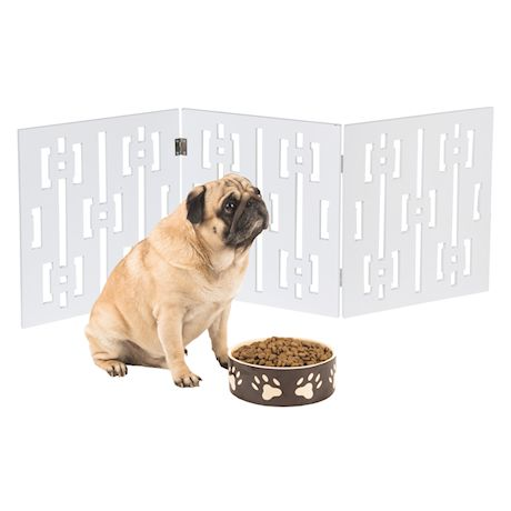"""ETNA Freestanding Wood Pet Gate - Squares Design 3-Panel Tri Fold Dog Fence for Doorways, Stairs - Indoor/Outdoor Pet Barrier - White 48""""W x 19"""" Tall"""