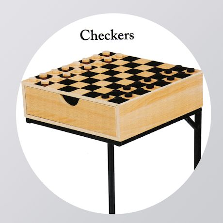 Etna Chess & Checkers Table Set- Wooden Board Game Platform with Storage Drawer, Wood Playing Pieces, Metal Stand