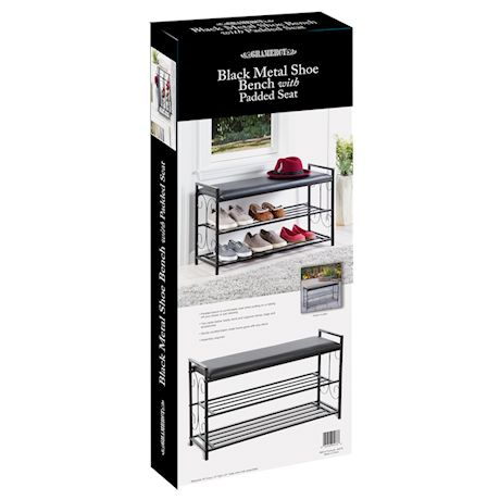 Etna Metal Shoe Rack Bench - 2-Tiered Black Scroll Footwear Storage Organizer with Padded Seat for Entryway, Mudroom and Bedroom - Home Decor