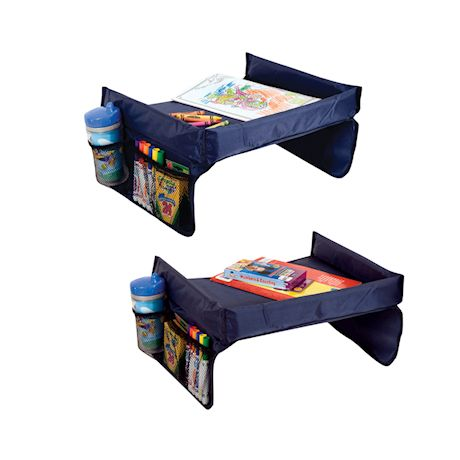Etna Kids Play n' Snack Travel Tray - Portable Foldable Waterproof Table with Mesh Storage Pockets, Cup Holder, Reinforced Sides, Adjustable Strap
