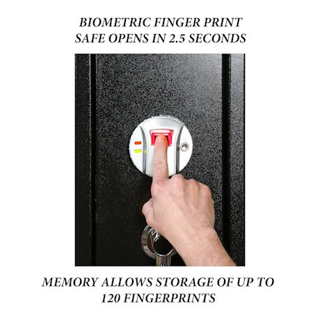 Great Working Tools Biometric Gun Safe - Locking Quick Access Steel Rifle Storage Cabinet Holds 4 Firearms, Removable Shelf, Wall Mountable Gun Security