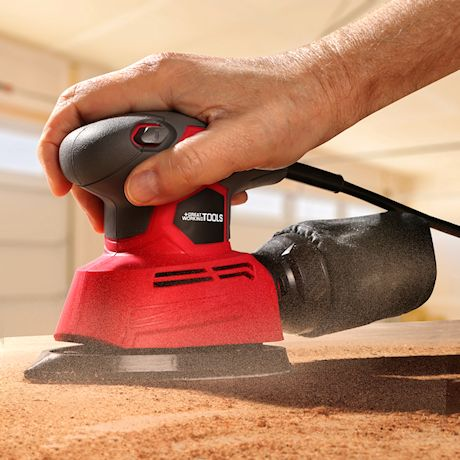 Great Working Tools Mouse Sander, Detail Orbital Palm Sander with Dust Collection Bag & 60 pcs Sandpaper, 1.1 Amp 14,000 OPM