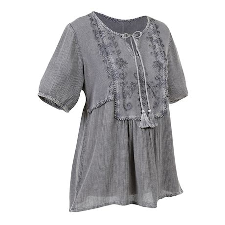 CATALOG CLASSICS Women's Peasant Blouse Tunic Top, Over-Dyed Floral Embroidered