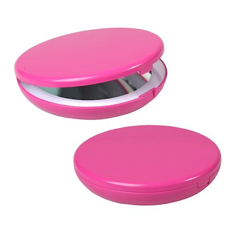WHAT ON EARTH 5 Inch Lighted Travel Makeup Mirror, 1X & 5X Magnification Folding Compact Mirror, Bright LED Lights