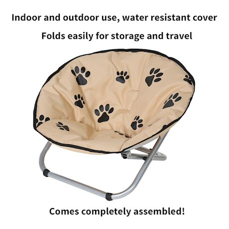 Etna Folding Pet Cot Chair - Portable Round Fold Out Elevated Cat Bed - Black and Beige Water Resistant Paw Print Cushion - Papsan Chair for Small Dogs