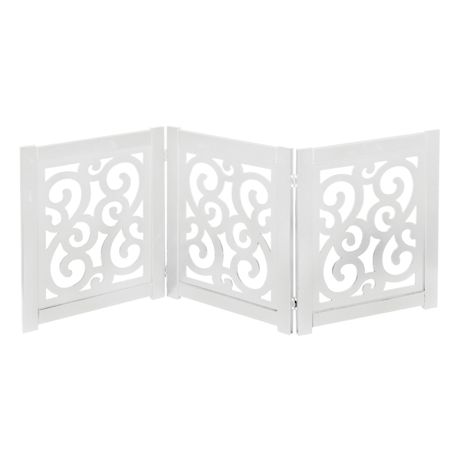 "Home District Freestanding Pet Gate, Solid Wood 3-Panel Tri-Fold Folding Dog Gate Dog Fence for Doorways Stairs Decorative Pet Barrier - White Scroll Design, 47"" x 19"""