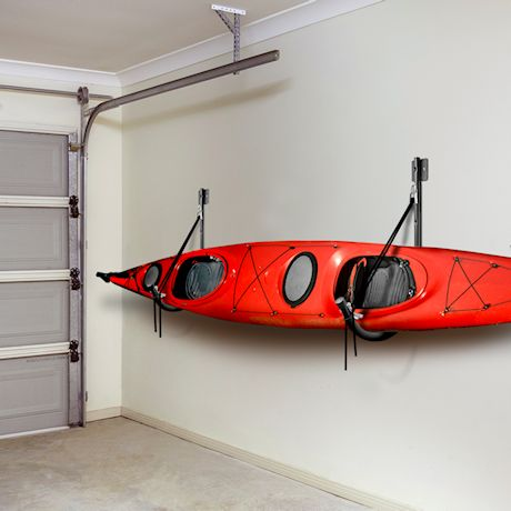 GREAT WORKING TOOLS Kayak Rack, Wall Mounted Fold Flat Design with Safety Straps, 200 lbs. Capacity
