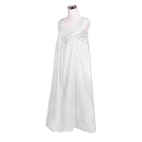 Floriana Womens Floral Embroidered Nightgown - Sleeveless Cotton Chemise with Pockets