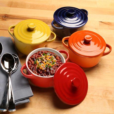 Home District Mini Casserole Pots - Set of 4 Lidded Stoneware Dishes, Soup Crocks Oven Safe, Holds 8 Oz. Each