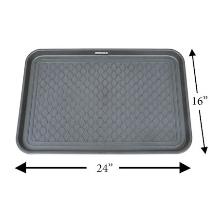 """Great Working Tools Boot Trays - Set of 2 Gray All Weather Heavy Duty Shoe Trays, Pet Bowl Mats Trap Mud, Water and Food Mess to Protect Floors - Gray, 23.75"""" x 15.5"""" x 1.25"""""""