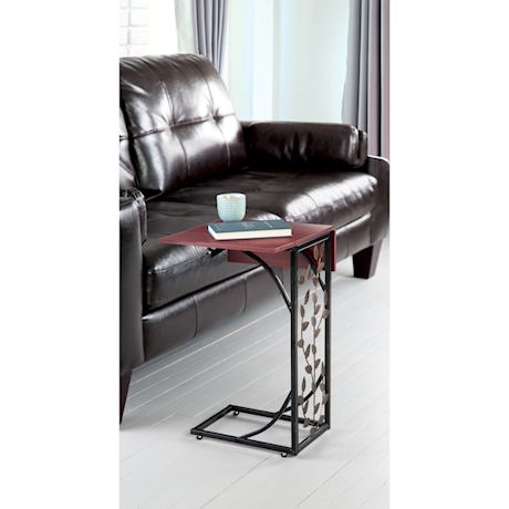 ETNA Sofa Side End Table with Folding Extendable Wood-Look Top & Leaf Design, C-Shaped TV Tray