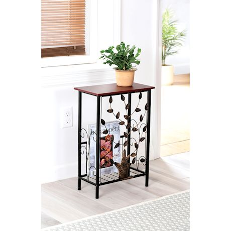 ETNA Sofa Side End Table - Small Metal Leaf Design Base with Dark Brown Wood Look MDF Top - C-Shaped TV Tray Slides Up To Couch, Chair or Recliner to Keep Snacks, Drinks, Accessories at Easy Reach