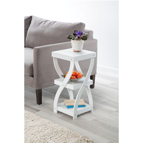 """ETNA Twist Side End Table Modern Accent Table Nightstand with Distressed Finish, Wood, 24"""" High - White"""