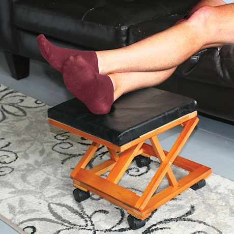 ETNA Patchwork Leather Top Foot Rest - Portable Rolling Collapsible Cushioned Foot Stool Ottoman for Home or Office