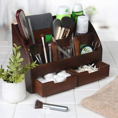Home District Wood Desk Organizer Mail Holder Rustic Distressed Finish with 6 Bins 2 Drawers for Home & Office