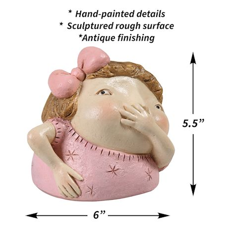 "Art & Artifact Girl Holding Nose Sculpture Primitive Kitschy Figurine Bathroom Decor, 5"" High"