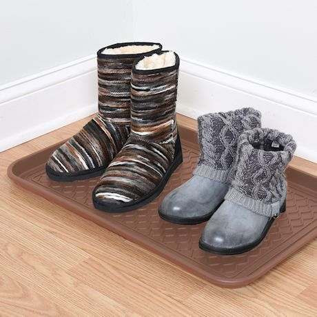 """Great Working Tools Boot Trays - Set of 2 Brown All Weather Heavy Duty Shoe Trays, Pet Bowl Mats Trap Mud, Water and Food Mess to Protect Floors - Brown, 23.75"""" x 15.5"""" x 1.25"""""""