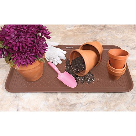 """Great Working Tools Boot Trays - Set of 2 Brown All Weather Heavy Duty Shoe Trays, Pet Bowl Mats Trap Mud, Water and Food Mess to Protect Floors - Brown, 30"""" x 15"""" x 1.2"""""""