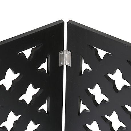 "Etna Freestanding Wood Pet Gate 3-Panel Tri Fold Dog Fence - 48"" Wide x 19"" High - Black Starlight"