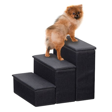 ETNA 3-Step Pet Steps with Storage Fold Away Pet Stairs for Dogs Cats Fabric Upholstered Padded Tops - Black