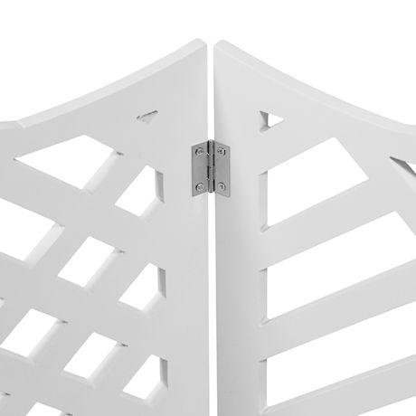 "Etna Freestanding Wood Pet Gate 3-Panel Tri Fold Dog Fence - 48"" Wide x 19"" High - Black Geometric"