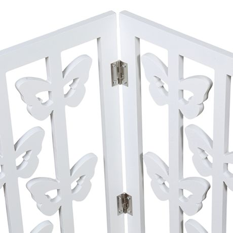 """Etna Freestanding Wood Pet Gate - 3-Panel Tri Fold Dog Fence - White Butterfly Design, 47 1/4""""W x 19"""""""
