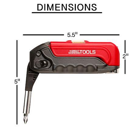 Great Working Tools 17 in 1 Multi-Tool, Flat-Head Phillips & Torx Screwdriver Bits, Tape Measure, Bubble Level, Hammer, Flashlight