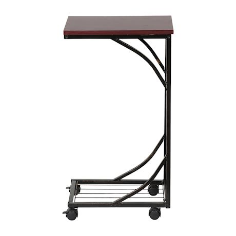 Etna C-Shaped Side Table Sofa Side Table with Wheels, Metal Leaf Design Base & Wood Look Top TV Tray