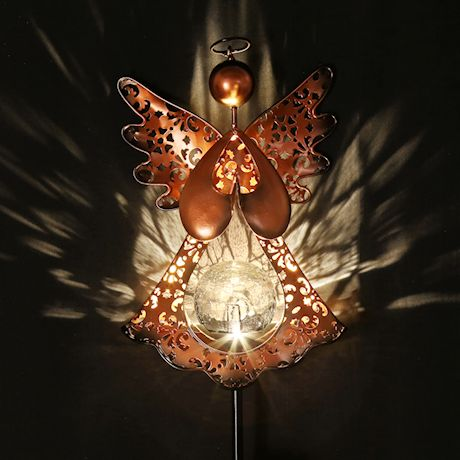 """ART & ARTIFACT Angel Garden Stake Solar Powered LED Light, Bronze with Crackle Glass, 10"""" Angel on 40"""" Stake - Outdoor Decor Lawn Ornament"""