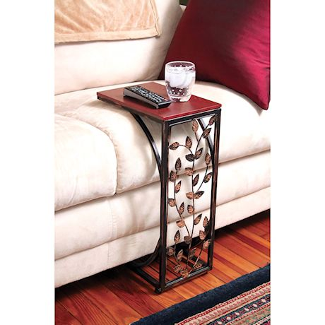 Etna C-Shaped Side Table Sofa Side Table with Metal Leaf Design Base & Wood Look Top TV Tray