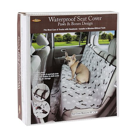 Etna Waterproof Pet Seat Cover - Car Dog Mat Protects Vehicle from Dirt, Mud, Water and Scratches - Paw and Bone Print