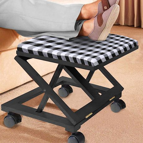 Etna Plaid Folding Foot Rest - Wooden Rolling Collapsible Cushioned Footrest Ottoman for Home or Office, Black and White