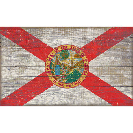 Wooden State Flag Sign Printed On Slatted Wood All 50
