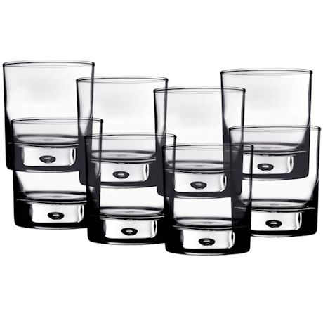Home Essentials Red Series 10 oz. Bubble-Bottomed Round Cut Drinking Glasses Set of 8