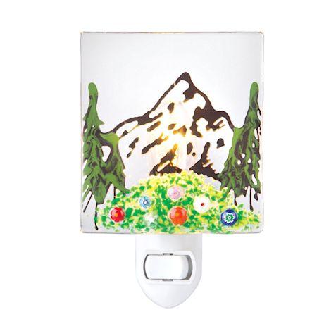 Fused Glass Scenic Mountain Night Light