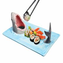 Shark Attack Hand-Painted Ceramic Sushi Serving Platter