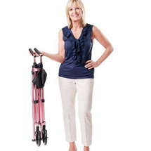 """Fold N Go Compact Walker Adjustable 32"""" to 38"""" in Rose with Replacement Ski Glides"""