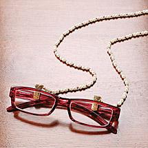 Gold Tone Faux Pearl Eyeglass Chain