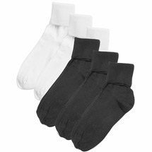 Buster Brown® 100% Cotton Women's Large Crew Socks - 6 Pack (3 White 3 Black)
