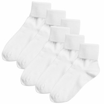 Buster Brown® 100% Cotton Women's Extra Large Crew Socks - 6 Pack -White