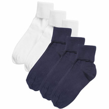 Buster Brown® 100% Cotton Women's Large Crew Socks - 6 Pack (3 White 3 Navy)