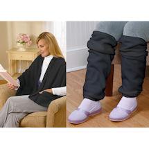 Fleece Pocket Shawl and Regular Leg Warmers Black